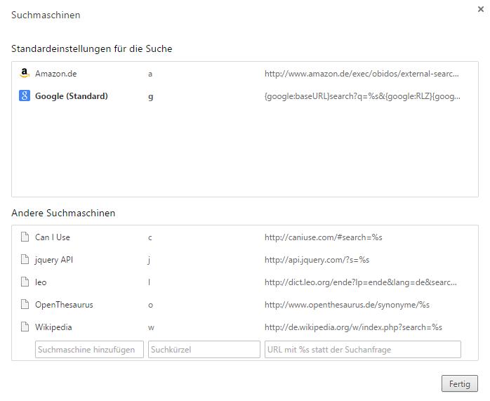 Hilfreiche Suchkürzel in Chrome (Screenshot)