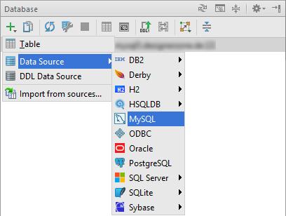 PhpStorm Datenquelle hinzufügen (Screenshot)