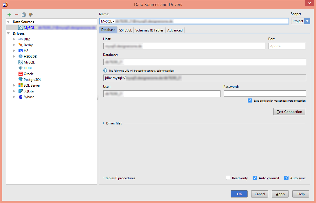 MySQL-Datenbank-Anbindung in PhpStorm konfigurieren (Screenshot)