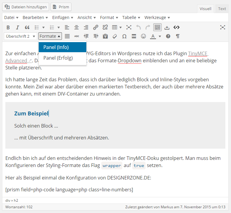 Beispiel der Formatvorlage Panel (Info) bei DESIGNERZONE.DE in WordPress